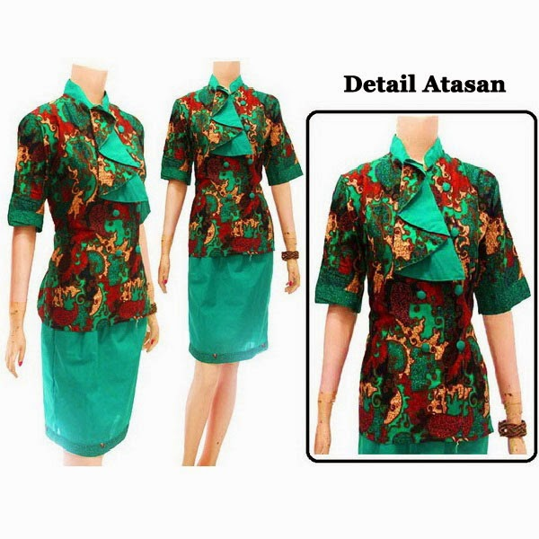 DB3713 Model Baju Dress Batik Modern Terbaru 2014