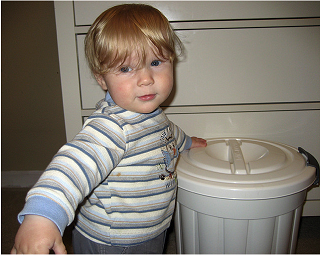 Jacob and his diaper pail by AmberStrocel, on Flickr