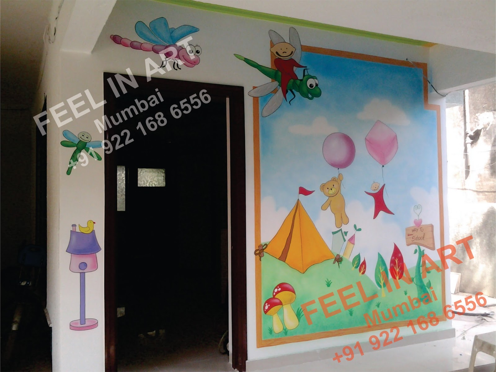Play school wall painting day care classroom wall murals for Classroom wall mural