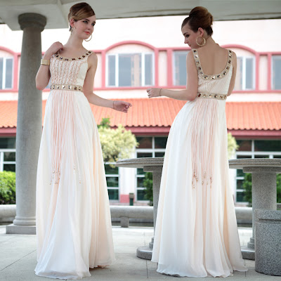 White Scoop Floor Length Dress