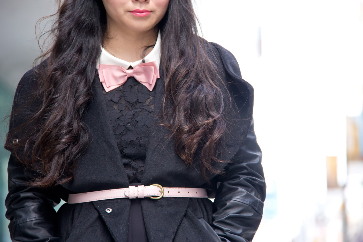 Black-Faux-Leather-Sleeve-Coat, American-Apparel-Pink-Belt, Bow-Tie, Lace-Top