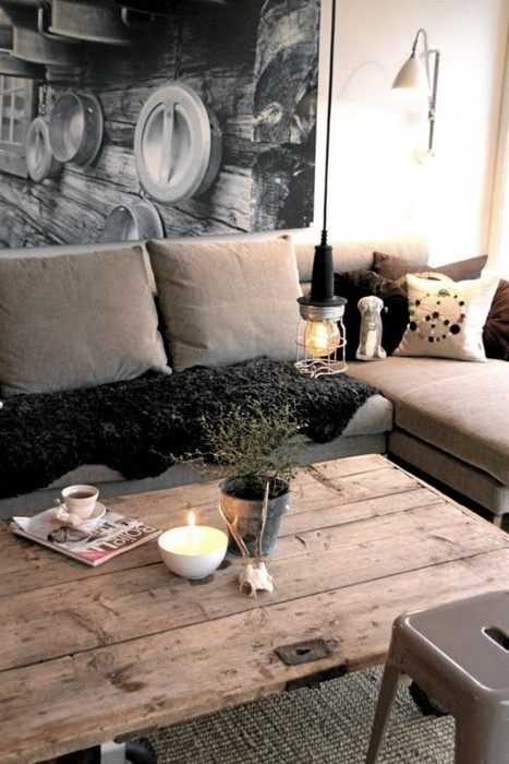 Repurposed old door into a coffee table content in a cottage for Old door into coffee table