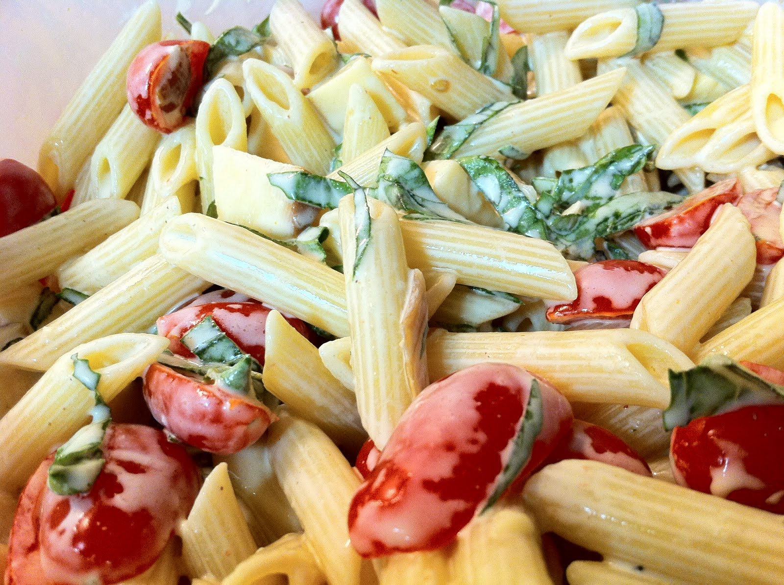 Spicy Pasta Salad with Smoked Gouda, Tomatoes, and Fresh Basil