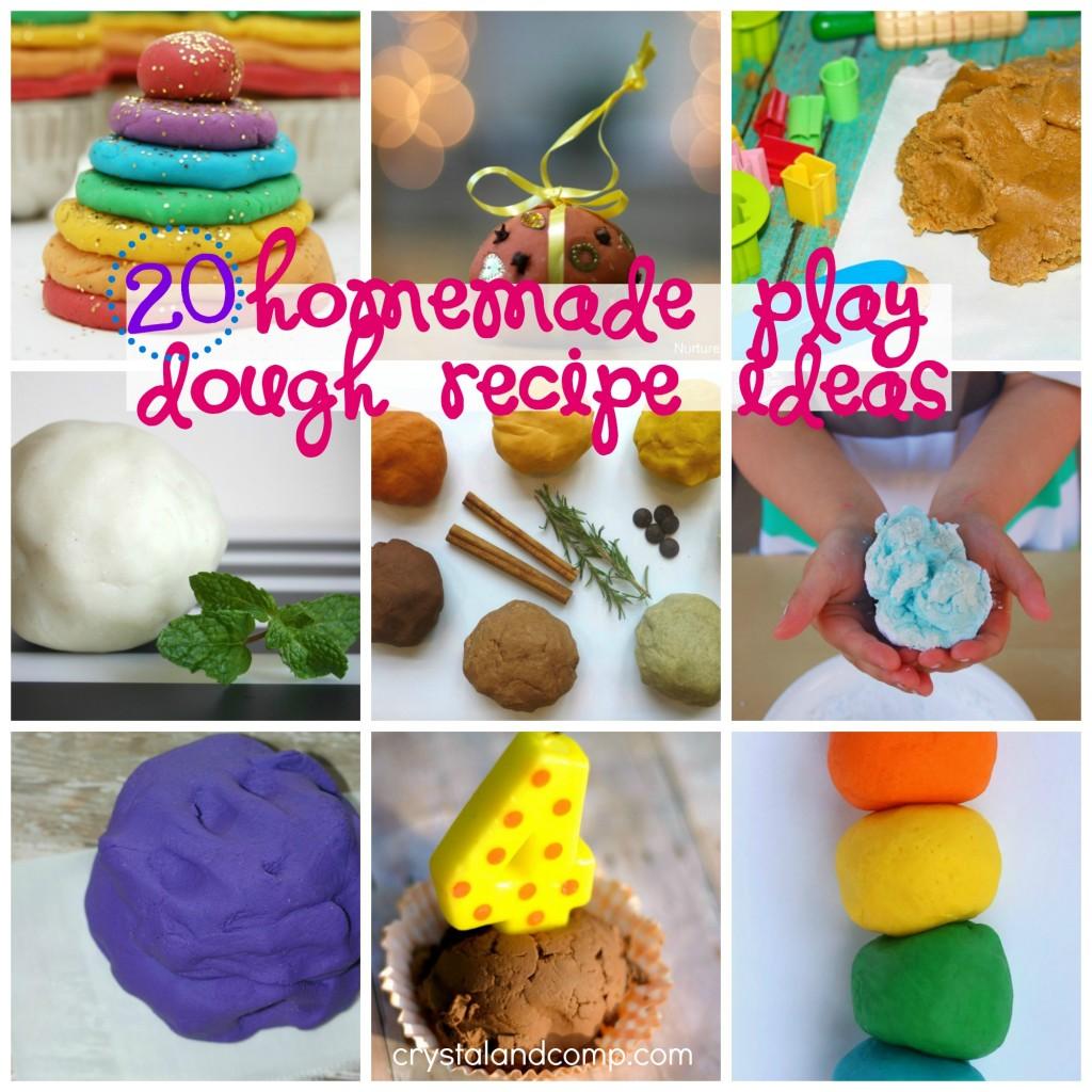 http://crystalandcomp.com/2014/06/homemade-play-dough-recipe-ideas/