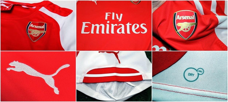 Detail Jersey Bola Anak Arsenal Home 2014 - 2015 Merah Puma