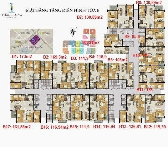 Mặt bằng căn hộ tòa B Chung cu Thang Long Number One