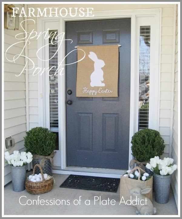 Confessions of a plate addict a farmhouse spring porch for Outdoor decorating ideas for spring