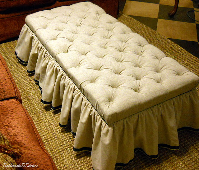 diamond tufted ottoman blanket chest with muslin and grosgrain ribbon trimmed skirt