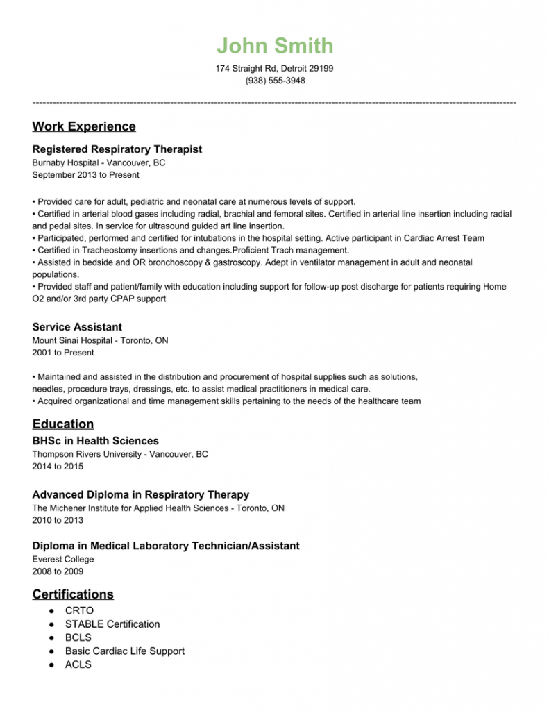 Resume For Respiratory Therapy