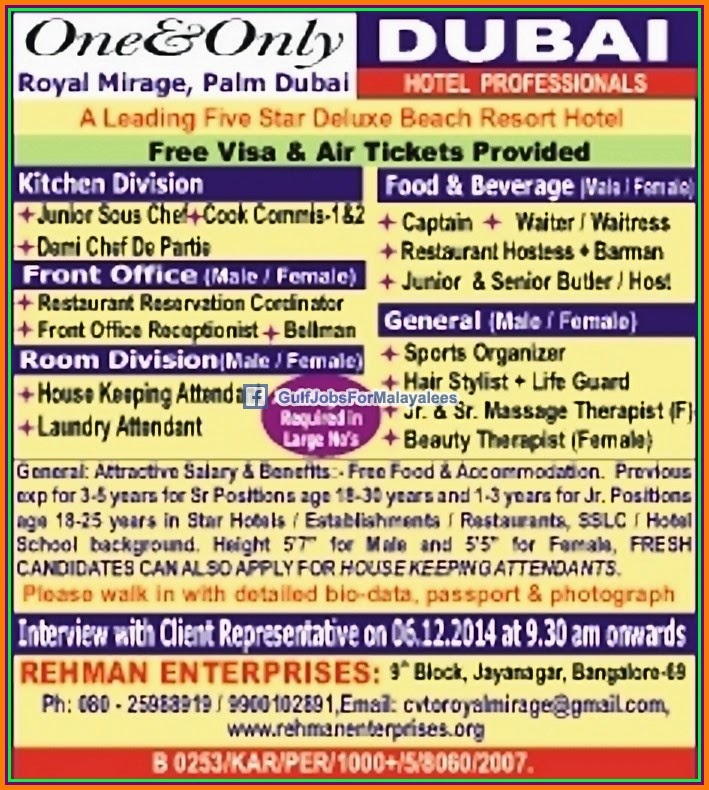 Job Vacancies For A 5 Star Hotel Dubai