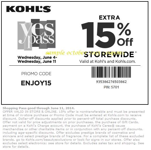 Kohls coupon code november
