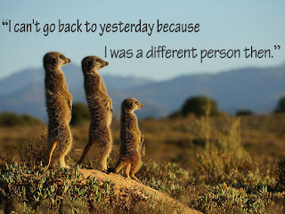 """I can't go back to yesterday because I was a different person then."""