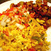 Scramble Eggs, Peppers & Tortillas with Mexican Hash Browns