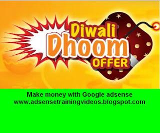 Diwali ke shubh avsar per Mere Google Adsense Hindi Training DVD per Bhaari 800 Rs (40%) ka discount - Yeh offer keval 6 November 2015 tak hai.