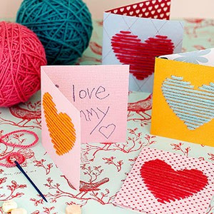 non candy Valentines yarn cards