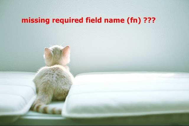 warning:misiing required field name (fn)