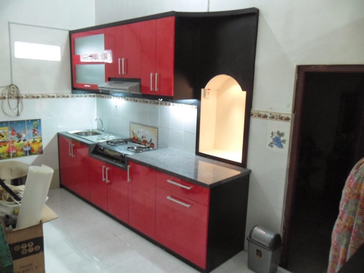 Kitchen Set Bentuk Lurus Top Table Granit Dan Minibar Custom