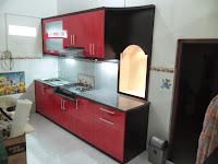 Kitchen Set Bentuk Lurus Top Table Granit dan Minibar 01