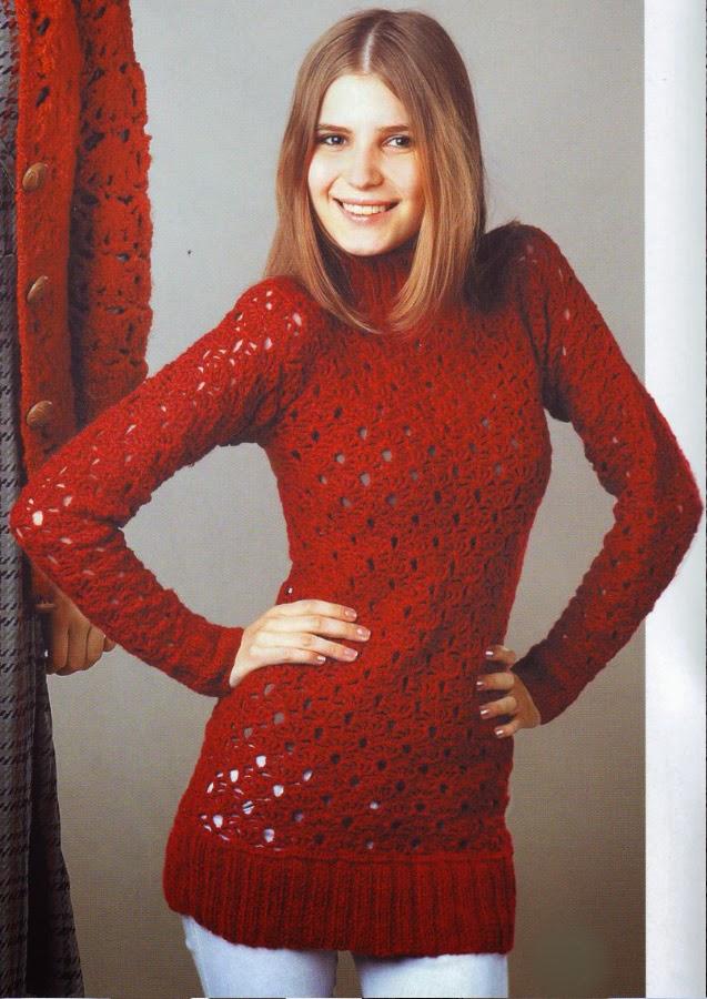 Вязание крючком модели свитера
