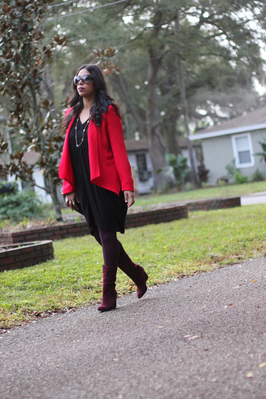 Red blazer burgundy oxblood suede wedge boots marc jacobs burberry mango