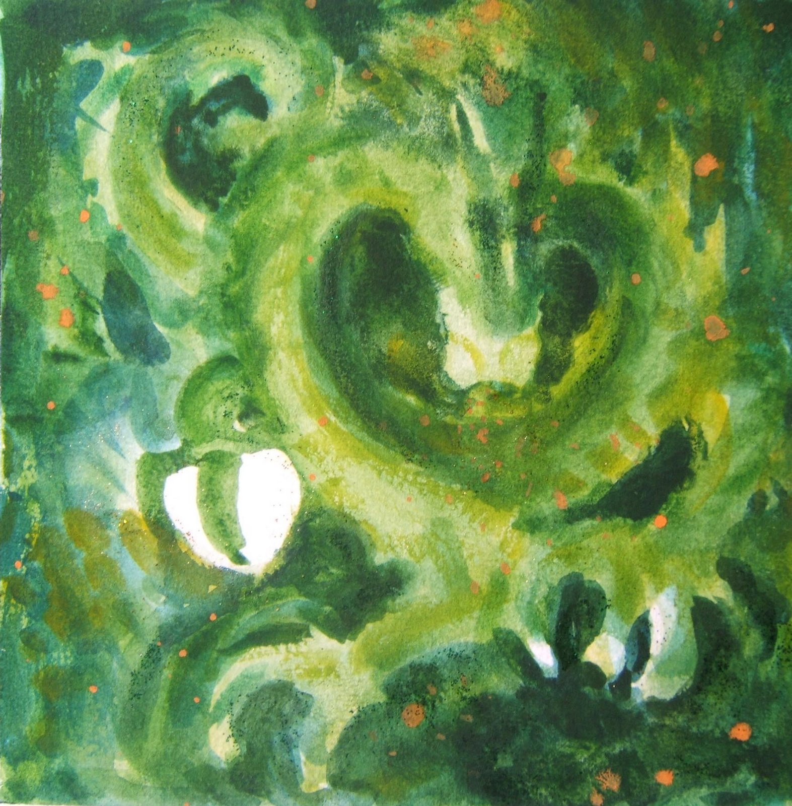 """Holding"" 7""x 7"" watercolor on paper, © 2008 Tina M Welter  # 4 Pearl Series  Green dragon with white heart."