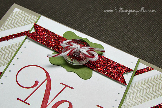 Embellishment cluster on holiday greeting card