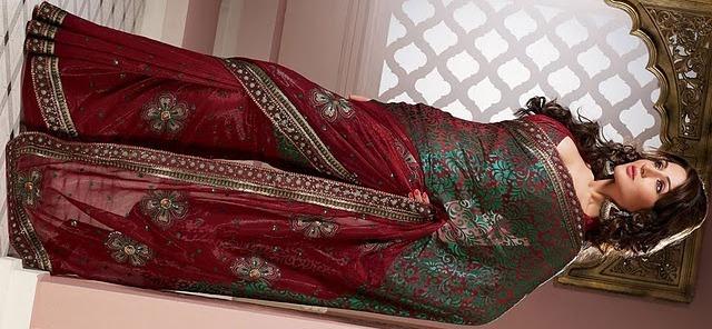 Indian bridal sari embroidered sari fashion design Kamdar