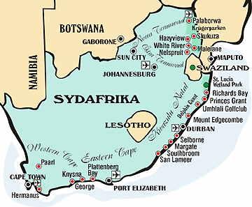 Karta över Sydafrika