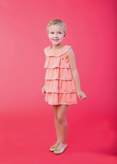 vestido color coral volantes - Sanmar moda infantil