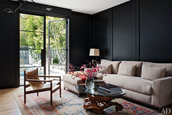 mid-century modern home, black paint walls