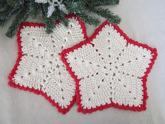 Free Crochet Star Dishcloth Pattern : Miss Abigails Hope Chest: Christmas Star Dishcloths