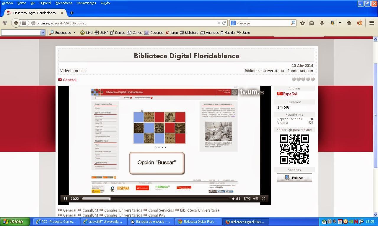 Vídeo sobre la Biblioteca Digital Floridablanca.