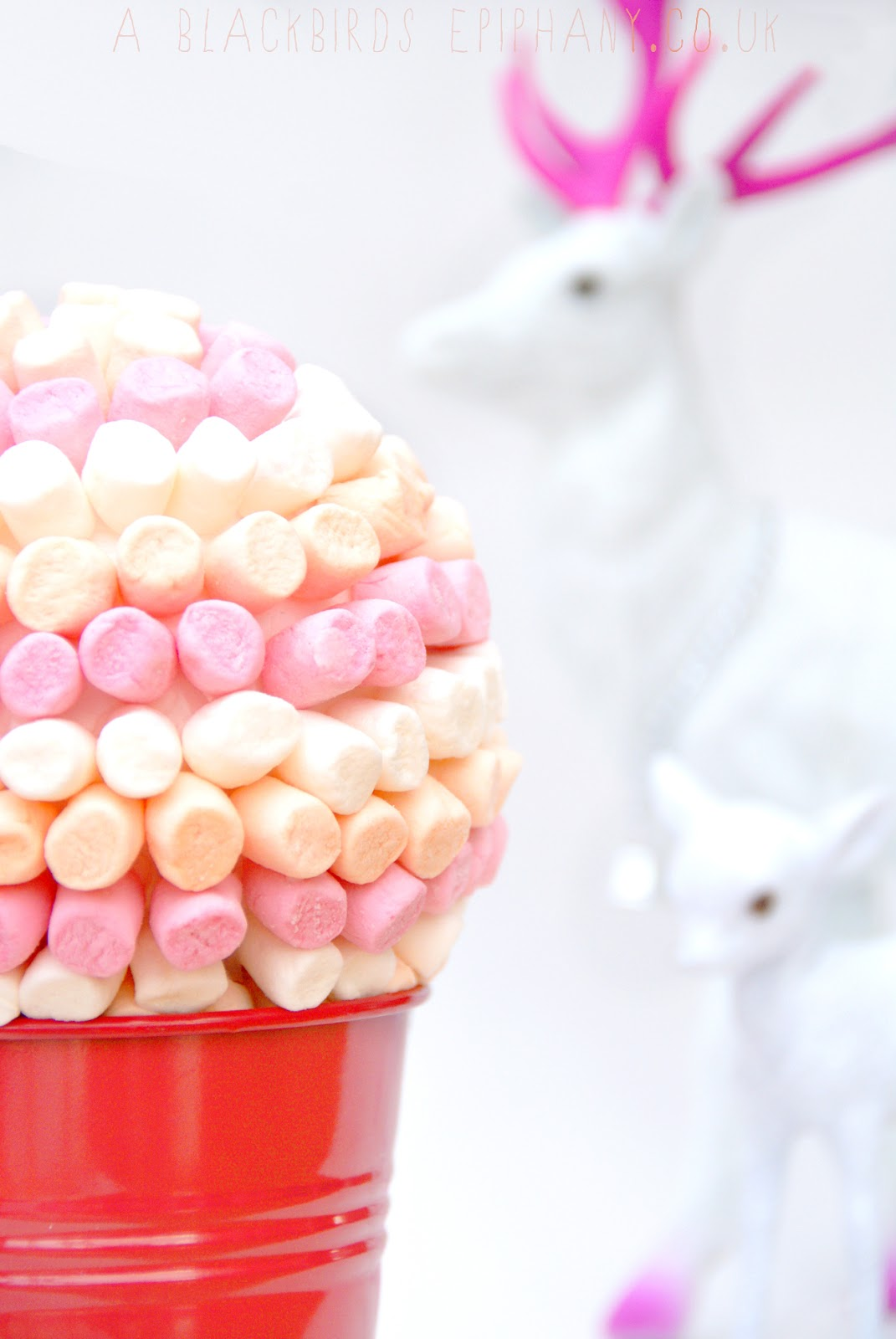 How To Make A Mini Marshmallow Topiary Blackbirds Epiphany Uk I Made Mine With Marshmallows But Found That Smarties Didnt Work Too Well For Me Because Was Impatient And Mix The Icing Thick Enough