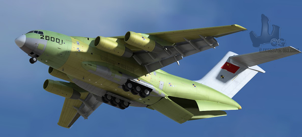 Generated imagery (cgi) of the chinese y-20 strategic military