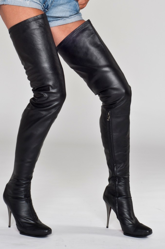 Thigh High Leather High Heel Boots - Yu Boots