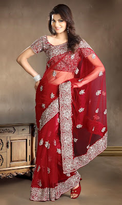 Fascinating Brick Red Net Embroidered Saree