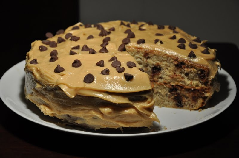... : Banana Chocolate Chip Cake with Peanut Butter Cream Cheese Frosting