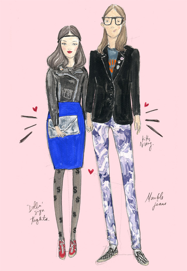 Kitty N. Wong / Fashion Streetstyle Illustration - Graphic Airlines hipster couple