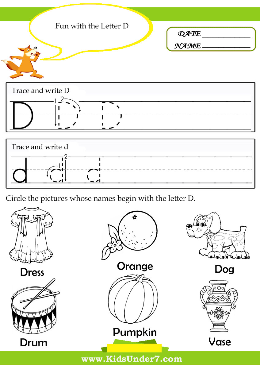 Worksheet Trace Letter D kids under 7 alphabet letter d practice writing worksheet