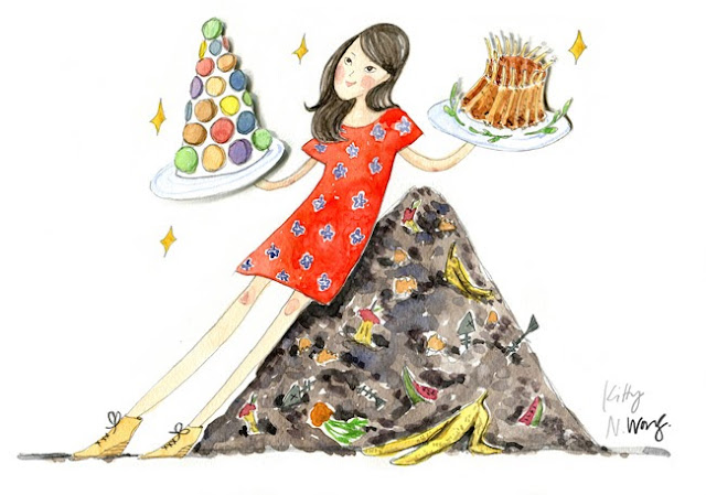 Kitty N. Wong illustration on food waste in HK for Tatler. Compost pile and excessive dishes