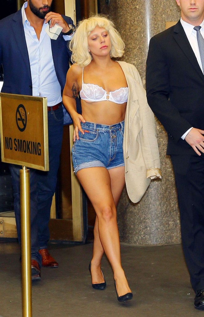 Lady Gaga wears a white lace bra out and about in NY