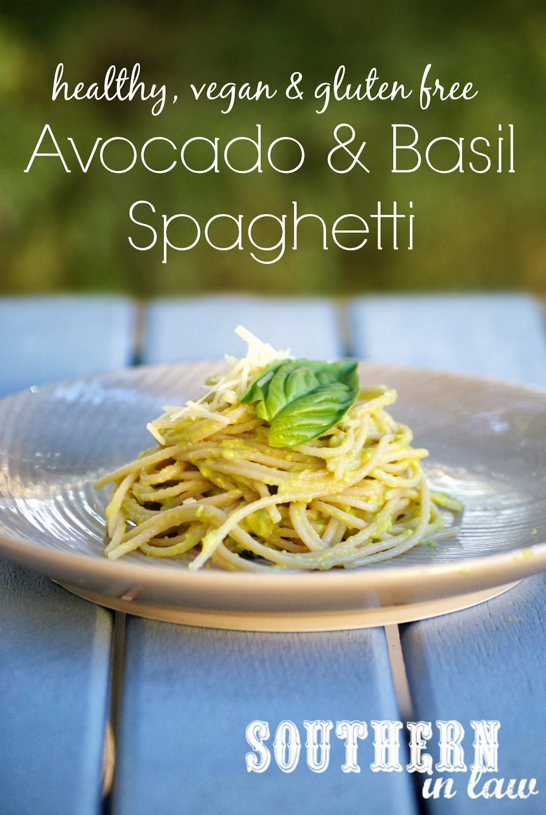 Healthy Avocado and Basil Spaghetti Recipe - low fat, gluten free, sugar free, vegan, clean eating friendly