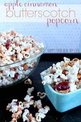 Happy Food Healthy Life: Healthier Apple Cinnamon Butterscotch Popcorn