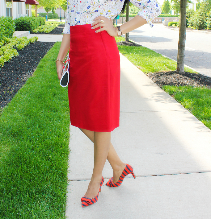 #SummerizeYourLegs #CollectiveBias #Shop, Jcrew  Red Navy Striped Pumps