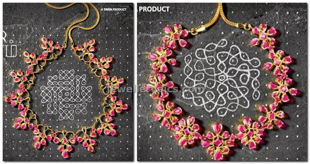 tanishq kolam ruby necklace designs