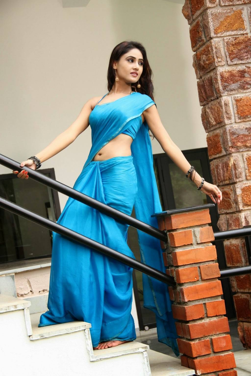 Sony Charista Navel Exposing Blue Saree Latest Unseen Photoshoot South Indian Bollywood Actress And Models