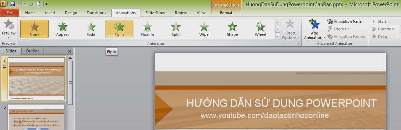 Animations: Chứa các hiệu ứng cho các đối tượng trên slide