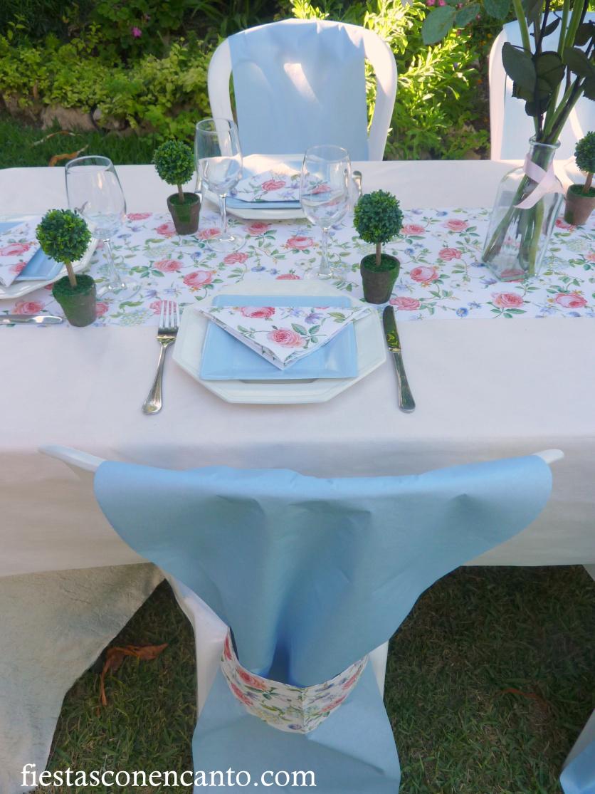 Fiestas con encanto mesa de comuni n o bautizo en rosa y - Decorar mesas para eventos ...