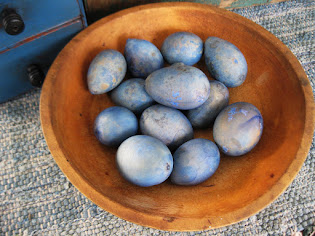 egg gourds dyed blue $24 dozen