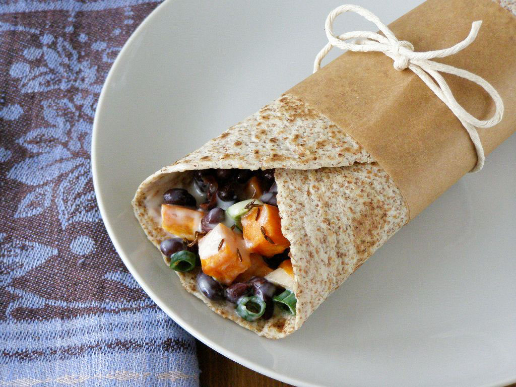 ... Sweet Potato and Black Bean Wrap with a Chilli Lime Yogurt Dressing